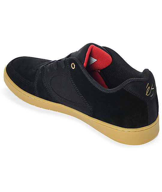 eS Accel Slim Black & Gum Suede Skate Shoes