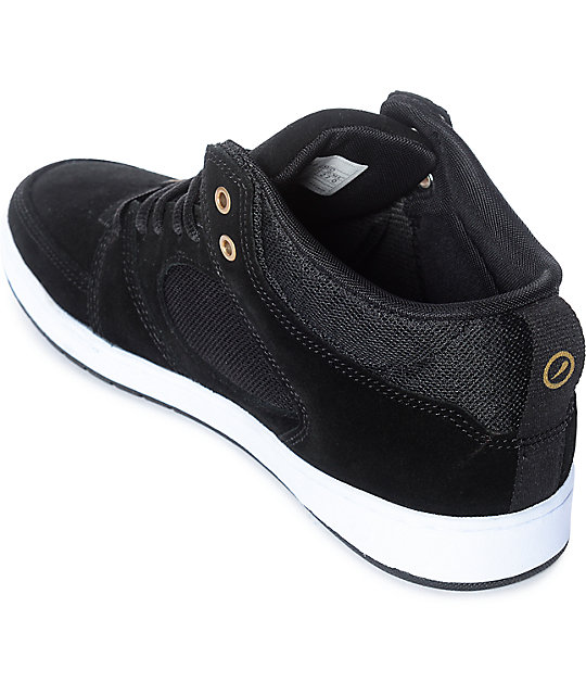 eS Accel Slim Black & White Mid Skate Shoes