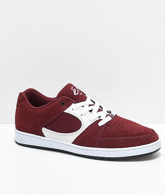 0e4652f5d1 eS Accel Slim Burgundy   White Skate Shoes