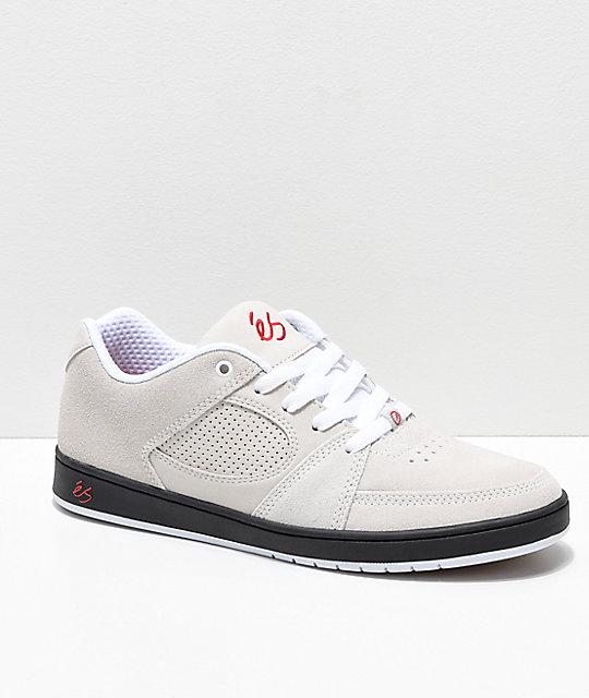 Es Accel Slim Cream Black Red Suede Skate Shoes Zumiez