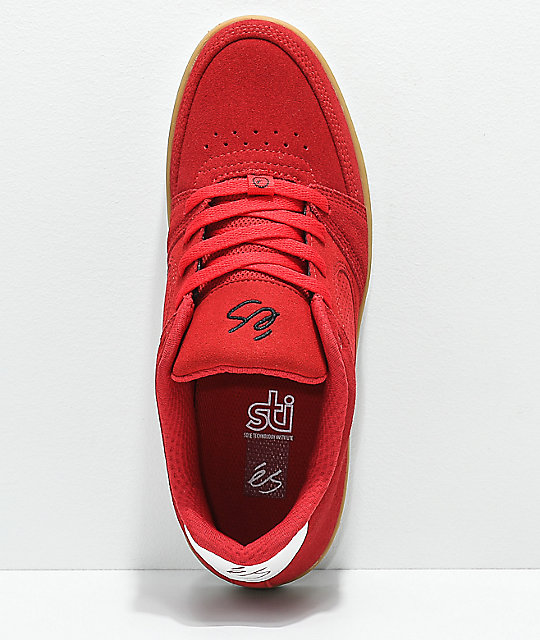 eS Accel Slim Red & Gum Skate Shoes