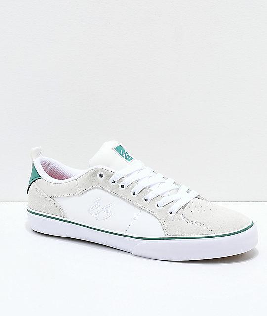 0fa5e7e90f24 eS Aura Vulc White   Green Skate Shoes