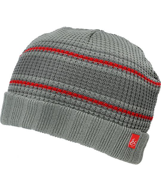 eS Capo Grey & Red Stripe Beanie