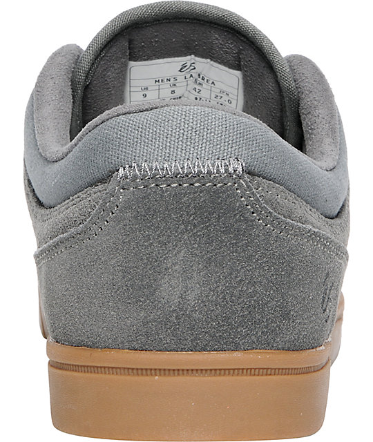 eS La Brea Dark Grey Suede & Gum Skate Shoes