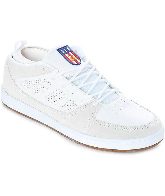 eS SLB Mid White & Gum Suede Skate Shoes ...