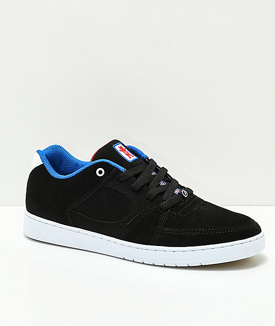 eS x Grizzly Accel Slim Black & White Skate Shoes