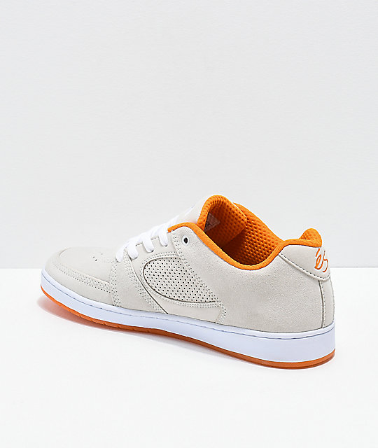 7d5237cc54 ... eS x The Nine Club Accel Slim White   Orange Suede Skate Shoes ...