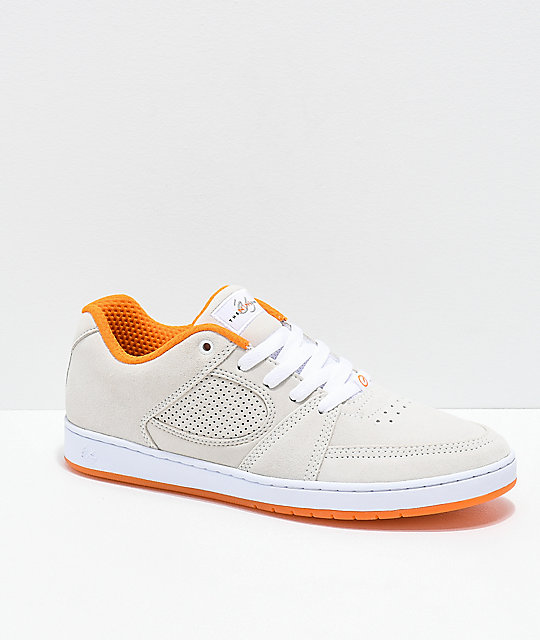 eS x The Nine Club Accel Slim White & Orange Suede Skate Shoes