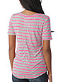 A Fine Mess Meringue Neon Pink Stripe V-Neck T-Shirt