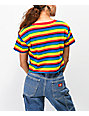 A-Lab Ballina Rainbow Stripe Crop T-Shirt
