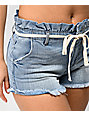 Almost Famous Light Wash Belted Denim Shorts