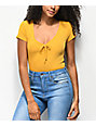 Almost Famous Taylor Ribbed Mustard Rouched Top