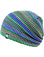 Aperture Alonzo Green & Blue Stripe Slouchy Beanie