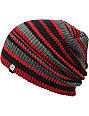 Aperture Alonzo Red & Black Stripe Slouchy Beanie