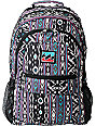 Billabong Background Black & Purple Tribal Print Backpack