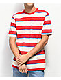 Brixton Hilt Red & Tan Stripe Knit T-Shirt