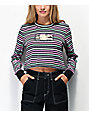 By Samii Ryan More Than Friends Stripe Long Sleeve Crop T-Shirt