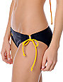 Corona Swim Navy & Gold Bottle Label 3 Tie Side Bikini Bottom