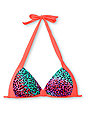 Damsel Fierce Cheetah & Hot Coral Molded Cup Bikini Top