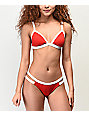 Damsel File Rib Lipstick Red Triangle Bikini Top