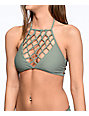 Damsel Macrame Army Green High Neck Bikini Top