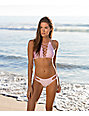 Damsel Shimmer Pink Lace Up High Neck Bikini Top