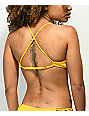 Damsel Tuscon Ribbed Yellow Lace Up Bralette Bikini Top