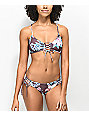 Damsel Waikiki Purple Floral Lace Up Bralette Bikini Top
