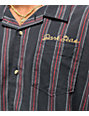 Dark Seas Striker Navy & Red Striped Woven Short Sleeve Button Up Shirt