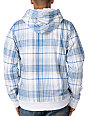Empyre Aardwolf White & Blue Plaid Sherpa Fleece Hoodie
