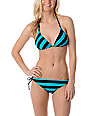 Empyre Arch Teal Striped Side Tie Bikini Bottom