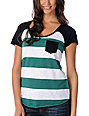Empyre Bayberry Green Stripe Raglan Baseball Tee