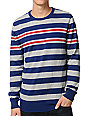 Empyre Build Up Blue, Grey & Red Striped Crew Neck Sweater