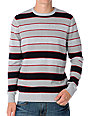 Empyre Collision Grey Striped Crew Neck Sweater