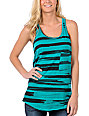 Empyre Contour Teal Stripe Zip Tank Top