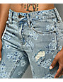 Empyre Easton Destroyed Light Wash Floral Boyfriend Jeans