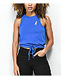 Empyre Evaleen Rose Blue Tie Front Tank Top