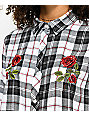 Empyre Havana Roses Black & White Plaid Button Up Shirt