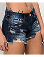 Empyre Jenna Distressed Dark Wash Shorts