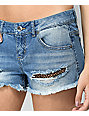 Empyre Jenna Medium Wash Distressed Fishnet Shorts