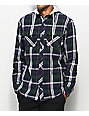 Empyre Kenneth White & Purple Hooded Flannel Shirt