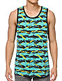 Empyre Paint Party Teal Striped Tank Top