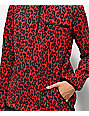 Empyre Posie Red Leopard Quarter Zip Fleece Jacket