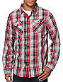 Empyre Rocknoceros Grey & Red Plaid Long Sleeve Button Up Shirt