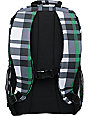 Empyre Rollin White & Green Plaid Skate Backpack