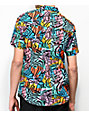 Empyre Shaped Geo Block Short Sleeve Button Up Shirt