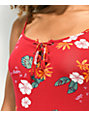 Empyre Valentina Red Floral Lace Up Tank Top