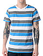 Empyre Wayward Grey, White, & Blue Striped V-Neck T-Shirt