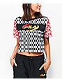 FILA Alba Black, Red & Gold Crop T-Shirt