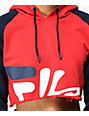 FILA Amber Red, Blue & White Crop Hoodie